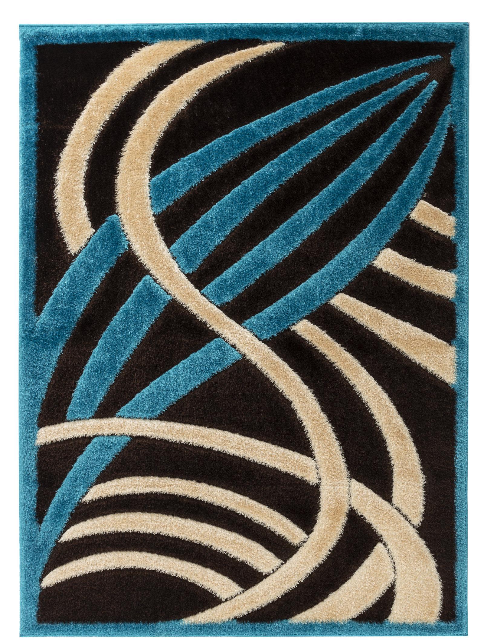 Orren Ellis Mayhew Abstract Shag Turquoise Brown Area Rug