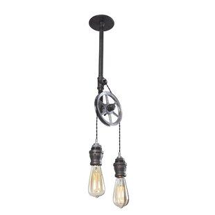West Ninth Vintage Steel Pulley 2-Light Bulb Pendant