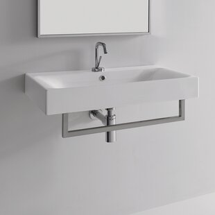 Reviews Cento Ceramic 28 Wall Mount Bathroom Sink with Overflow By WS Bath Collections