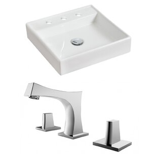 Compare & Buy Ceramic Square Vessel Bathroom Sink with Faucet and Overflow ByRoyal Purple Bath Kitchen