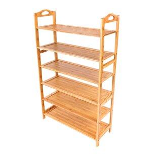 6-Layer Portable Bamboo Board 15 Pair Shoe Rack Rebrilliant