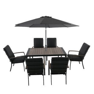 Castlereagh 6 Seater Dining Set With Cushions And Parasol By Sol 72 Outdoor