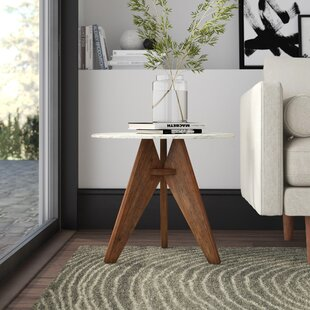 Koury Tall Marble and Wood End Table by Mercury Row
