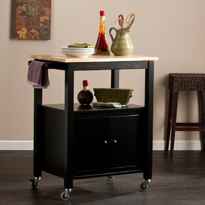 Tiltonsville Kitchen Cart with Butcher Block Top by Alcott Hill