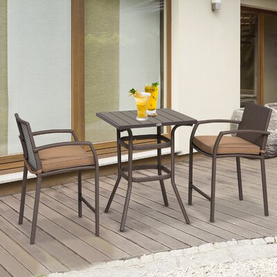 Abbate Outdoor 3 Piece Bistro Set With Cushions by Ebern Designs Looking for