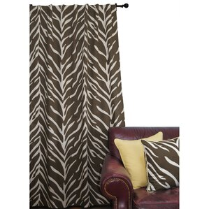 Zebra Animal Print Semi Sheer Tab Top Curtain Panel