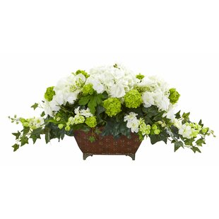 Artificial Ivy and Hydrangea Centerpiece in Metal Planter