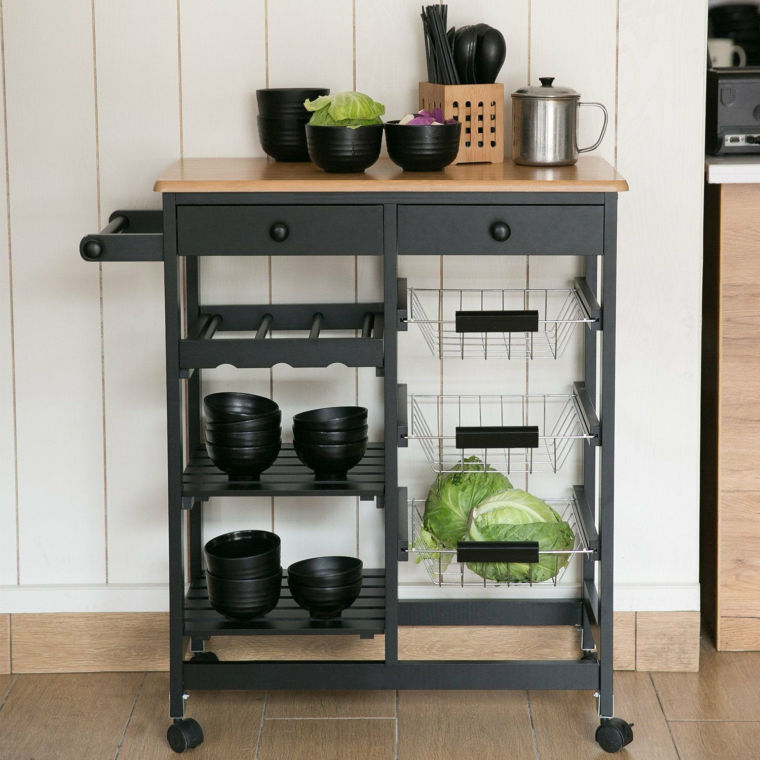Kitchen Cart with Wood Top