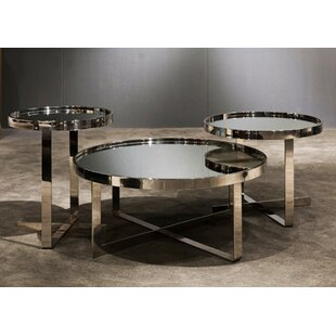 Orren Ellis Clower Contemporary Mirrored 3 Piece Coffee Table Set