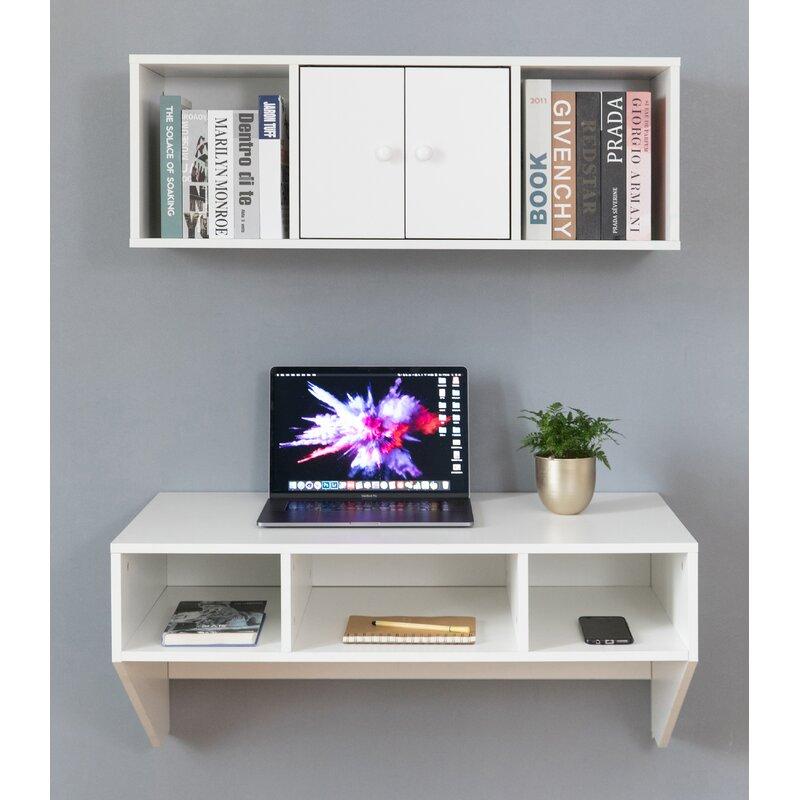 Latitude Run Tan Floating Desk With Hutch Reviews Wayfair