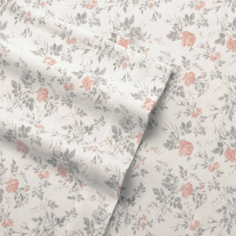 Laura Ashley Rosalie Floral 100 Cotton Flannel Sheet Set Reviews Wayfair
