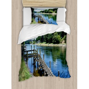 Outdoor Waikato River Hamilton City New Zealand Holiday Destination Travel Landmark Duvet Set by Ambesonne