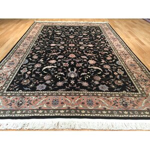 Imperial Kashan Hand-Knotted Black/Rose Area Rug