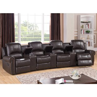 Leather 4-Seat Home Theater Recliner ByRed Barrel Studio