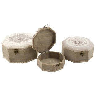 Flowers Hexagonal Manufactured Wood 3 Piece Box Set By Lily Manor
