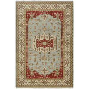 Brian Opal Hand-Knotted Rust/Sage Green Area Rug