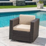 Furst Outdoor Swivel Club Chair with Cushions byWade Logan