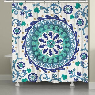 Balfour Coastal Medallion Shower Curtain by Rosecliff Heights