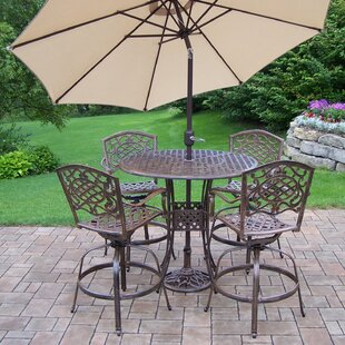 Astoria Grand Thelma 6 Piece Bar Height Dining Set with Umbrella