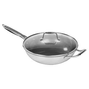 12u201d nonstick stainless steel wok with lid