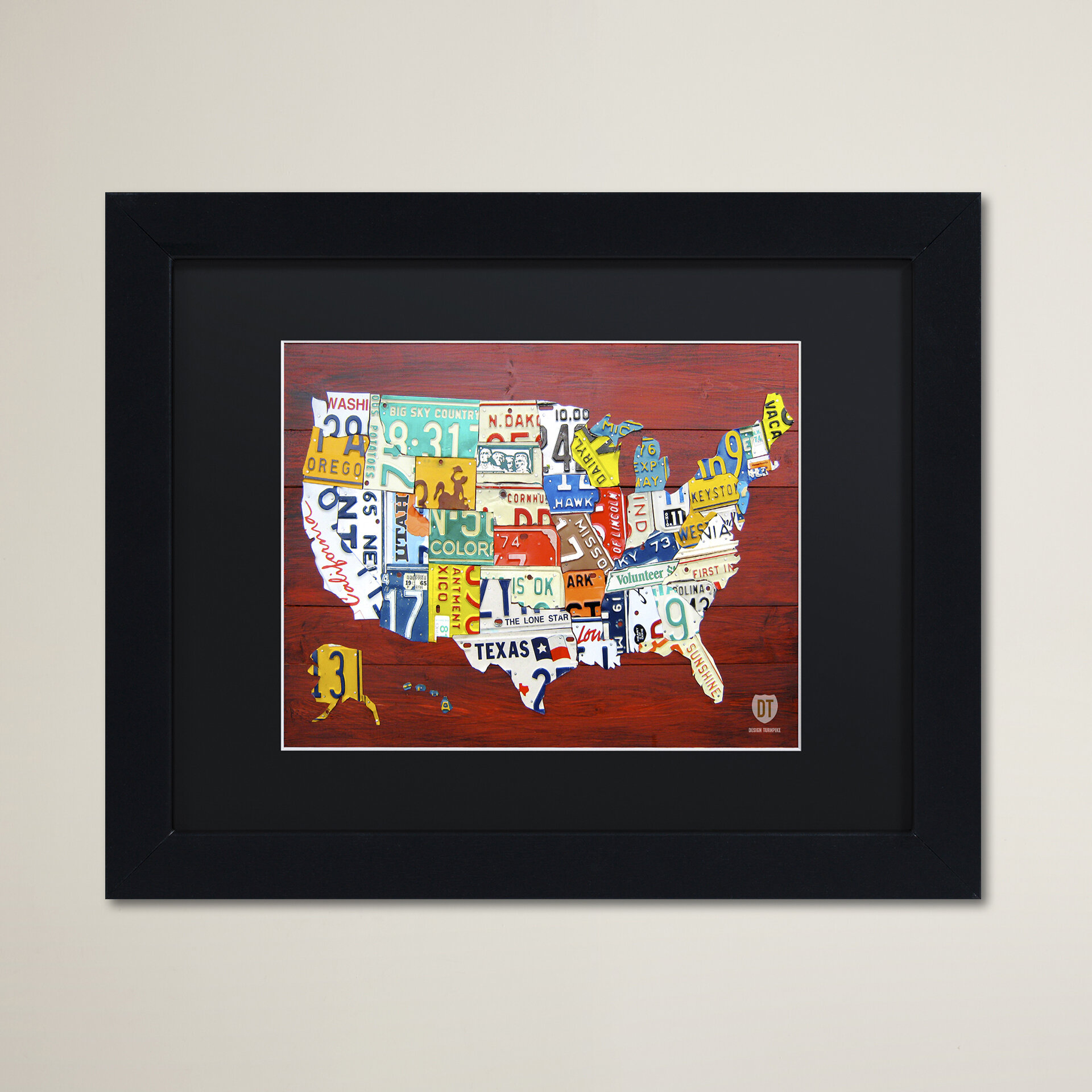 Latitude Run License Plate Map Usa By Design Turnpike Framed Graphic Art On Canvas Wayfair