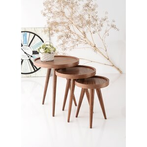 Alec 3 Piece Walnut Nesting Table by Corriga..