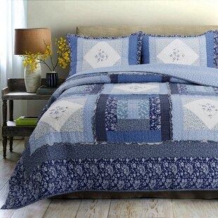 Moyle 100% Cotton 3 Piece Reversible Quilt Set
