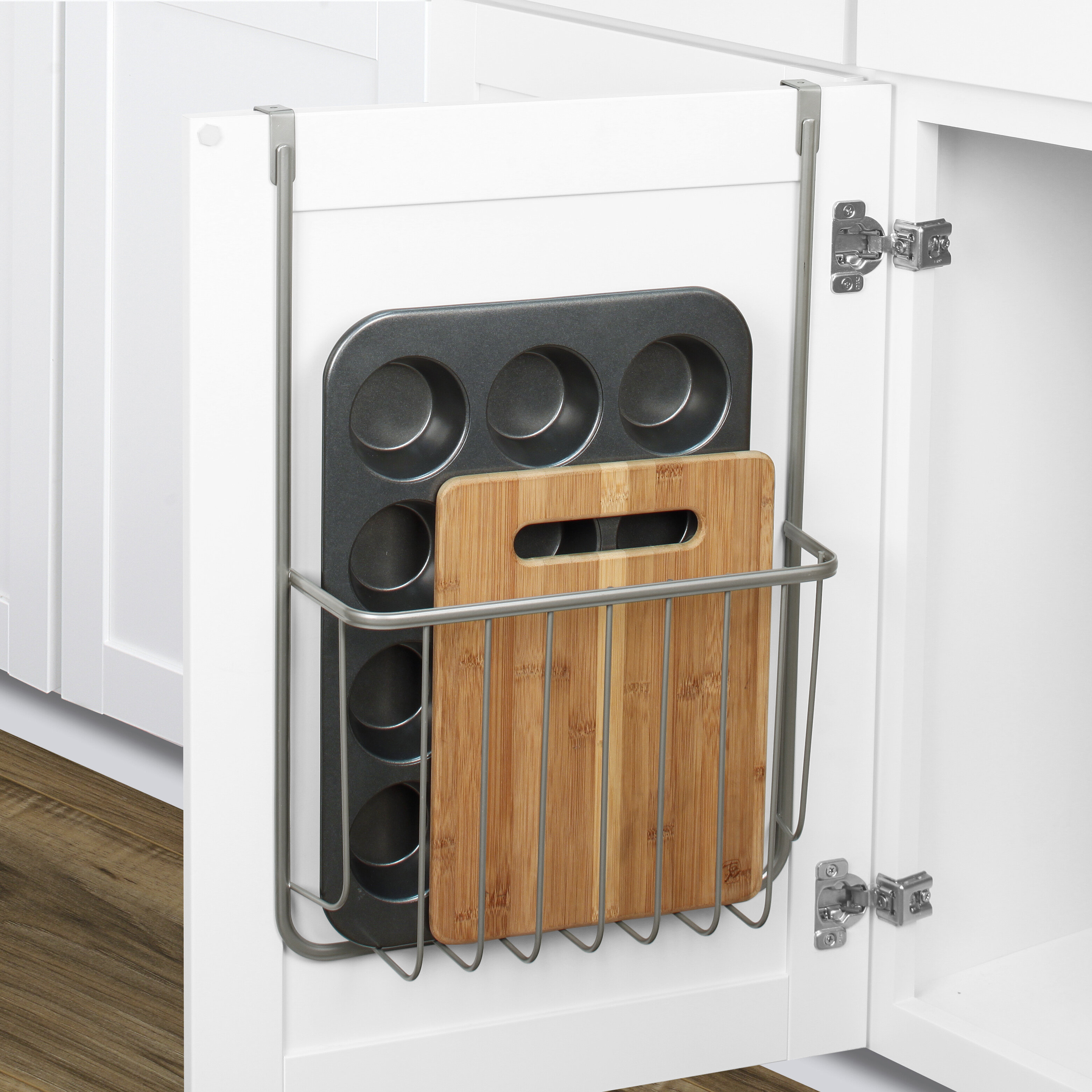 Charmant Over The Cabinet Cutting Board And Bakeware Holder Cabinet Door Organizer