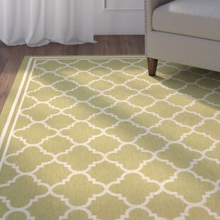Short Green/Beige Indoor/Outdoor Area Rug By Winston Porter