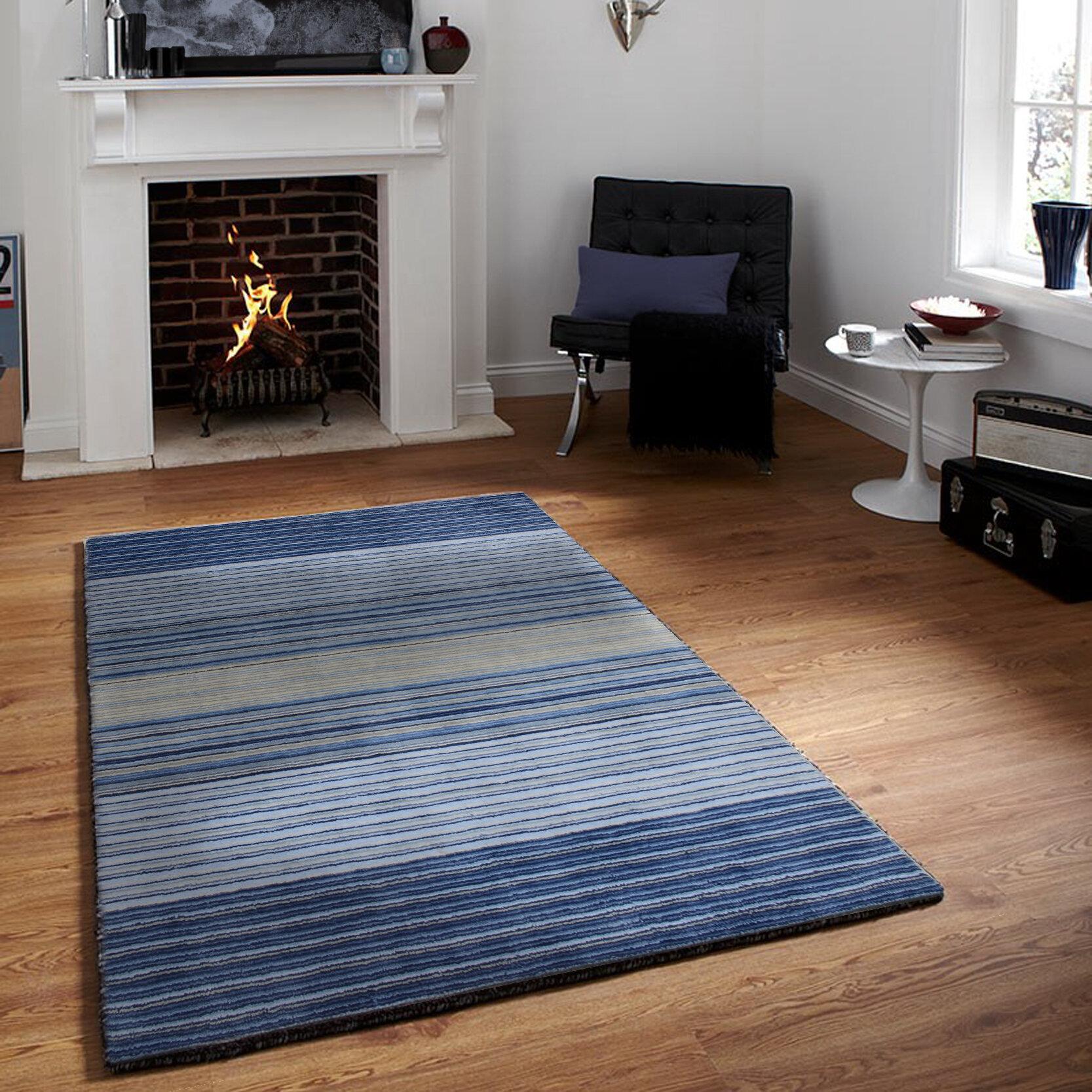 Orren Ellis Nathans Striped Handmade Tufted Wool Blue Area Rug Reviews Wayfair