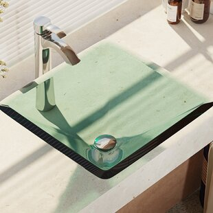 Price comparison Glass Square Vessel Bathroom Sink with Faucet By René By Elkay