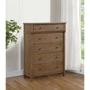 Gisele Transitional Style Wood and Metal 5 Drawer Chest