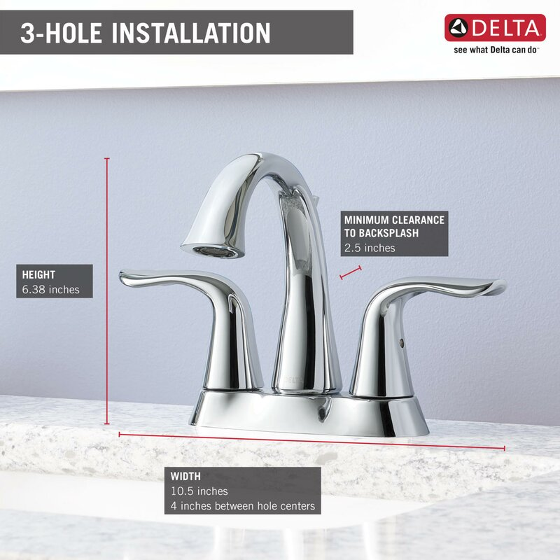Delta Lahara Centerset Bathroom Faucet with Drain Assembly and ...