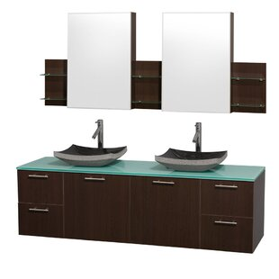 Amare 72 Wall-Mounted Double Bathroom Vanity Set with Mirror By Wyndham Collection