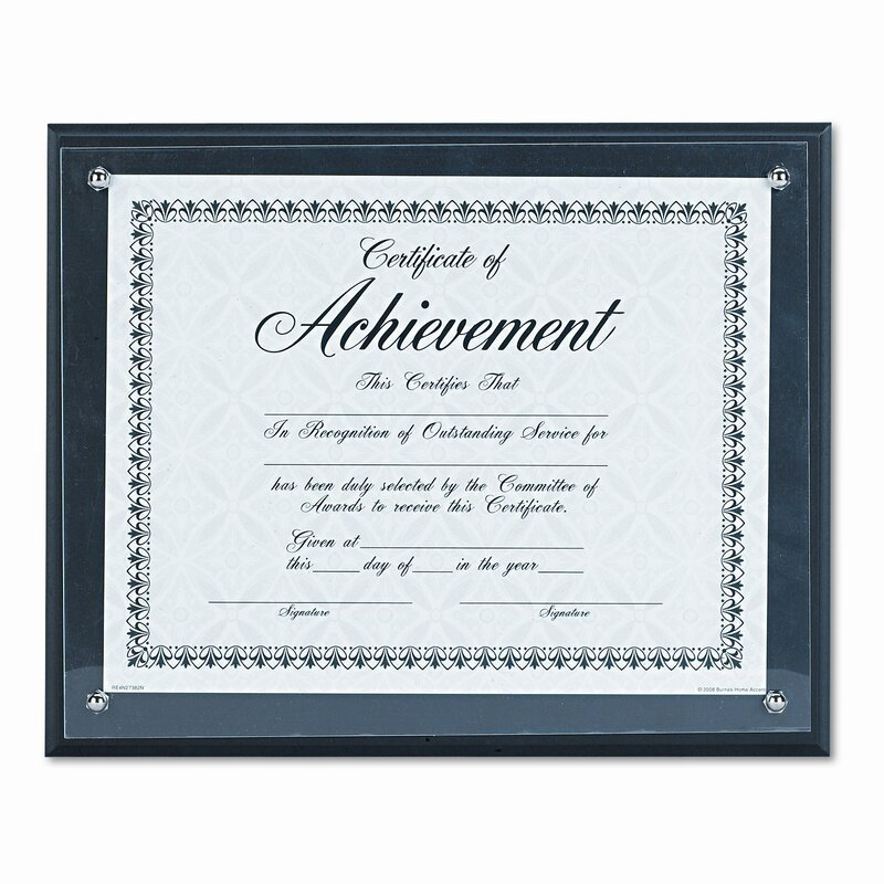 DAX MANUFACTURING INC. Award Plaque, Wood/Acrylic Frame, fits up to ...