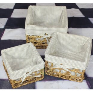 Maize 3 Piece Lined Storage Basket Set