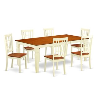 Darby Home Co Beesley 7 Piece Rectangular Buttermilk/Cherry Dining Set