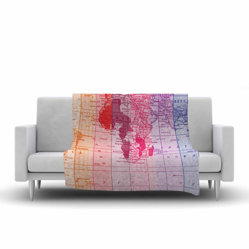 East urban home rainbow world map by catherine holcombe fleece throw rainbow world map by catherine holcombe fleece throw blanket gumiabroncs Gallery