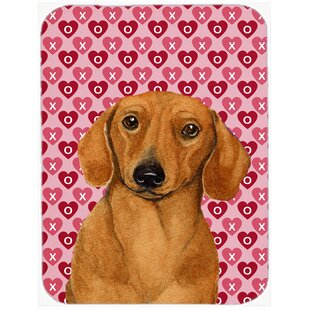 Valentine Hearts Dachshund Hearts Love and Valentine's Day Portrait Glass Cutting Board By Caroline's Treasures
