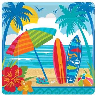 Summer Sun and Surf Square Paper Dinner Plate (Set of 18)