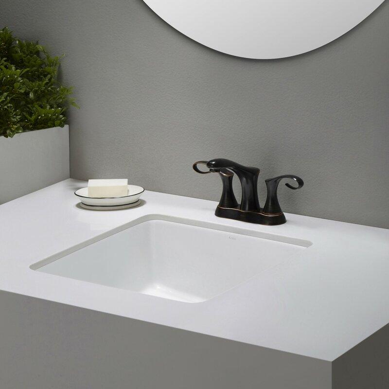Kraus Elavo Ceramic Square Undermount Bathroom Sink with Overflow ...