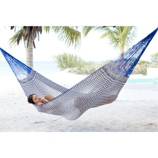 Portable Double Person Ocean Waves Hand-Woven Mayan Artists of the Yucatan Natural Cotton with Hanging Accessories Included Camping or Outdoor Hammock