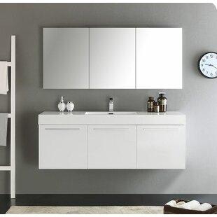 Reviews Senza 60 Vista Single Wall Mounted Modern Bathroom Vanity Set with Mirror ByFresca