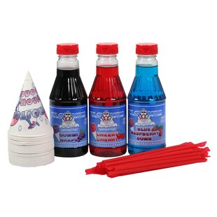 Snow Cone Syrup, Cone and Spoon Set