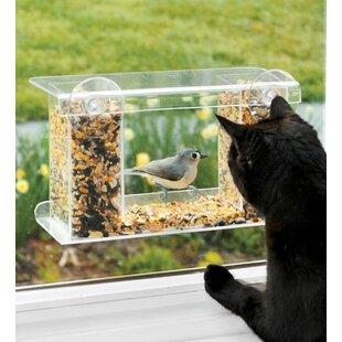 Plow & Hearth Window-Mount See-Through Tray Bird Feeder