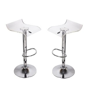 Orren Ellis Dall Clear Adjustable Height Bar Stool (Set of 2)