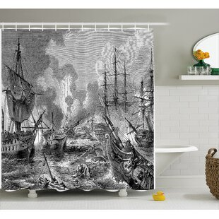 Gray Naval Battle Vintage War Shower Curtain