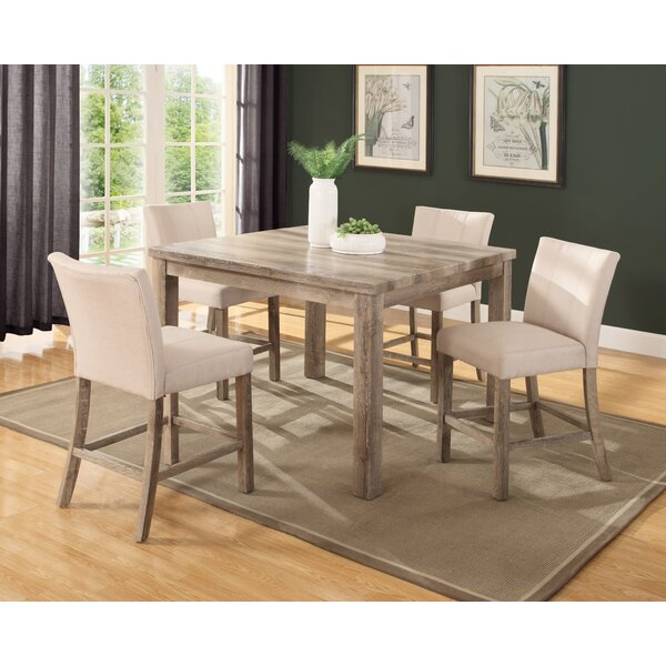 union rustic shaunda casual 5 piece counter height dining set u0026 reviews wayfair