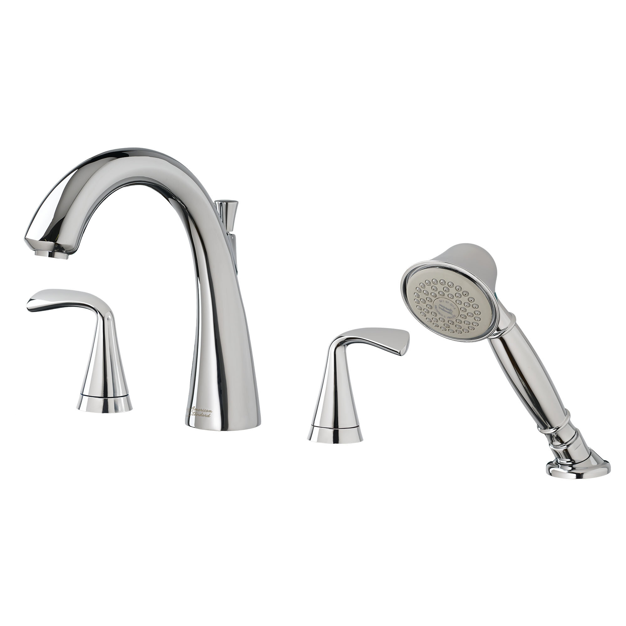 American Standard Fluent Double Handle Deck Mounted Roman Tub Faucet Trim With Diverter And Handshower Wayfair