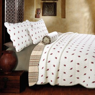 Thisnes Paisley Cotton 3 Piece Reversible Quilt Set
